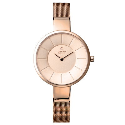 OBAKU 幸福時刻纖薄時尚腕錶-玫瑰金/32mm