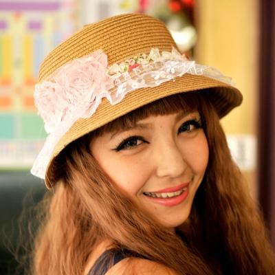 Aimee Toff 夢幻粉紅玫瑰遮陽帽(棕)