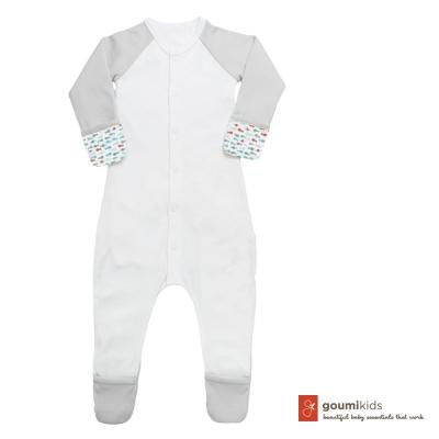 美國 GOUMIKIDS 有機棉嬰兒包腳連身衣 (小魚群)