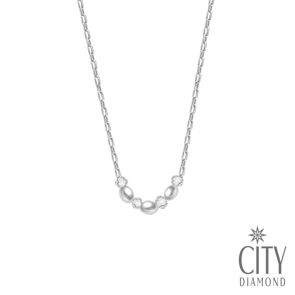 City Diamond 引雅【手作設計系列 】天然橢圓3顆珍珠水晶項鍊