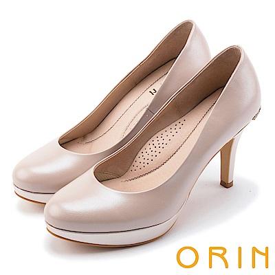 ORIN 晚宴婚嫁首選 後跟金屬鑽飾典雅高跟鞋-粉色