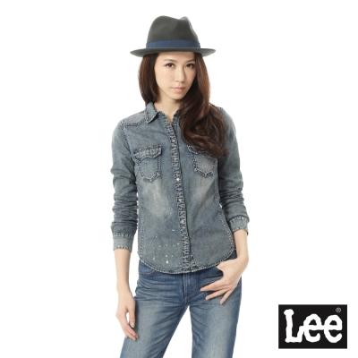 Lee 牛仔襯衫潑漆懷舊-女-藍