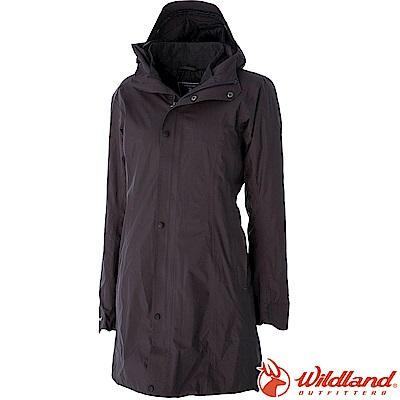 Wildland 荒野 0A52901-95鐵灰色 女長版PR棉輕量防水外套