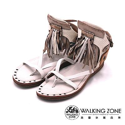 Walking Zone真皮 羅馬流蘇夾趾涼鞋-米