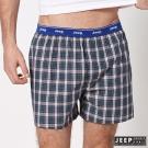 JEEP 五片式剪裁 純棉平口褲 (咖啡綠格紋)