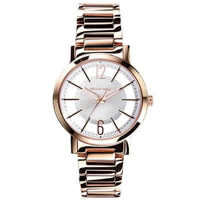 RELAX TIME RT56 輕熟風格系列鏤空腕錶-玫瑰金X白/42mm