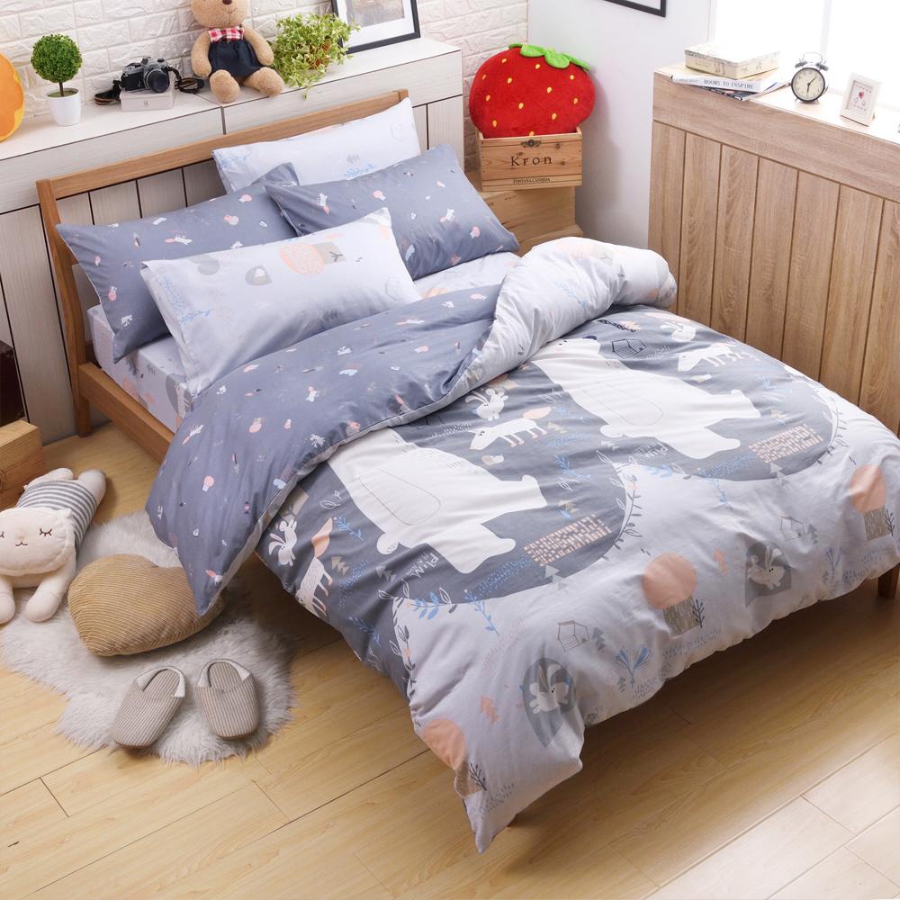 喬曼帝Jumendi-熊寶童話 台灣製單人三件式特級100%純棉床包被套組