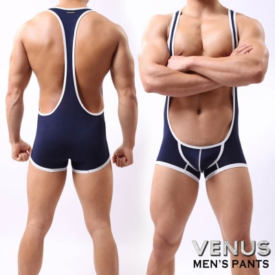 VENUS 男士性感 透氣背心平角連體衣 背帶褲 藏青