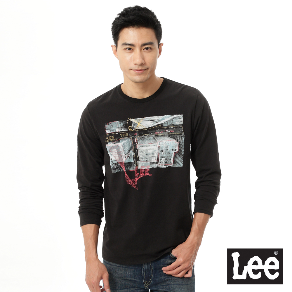 Lee-圓領照片印花長袖T恤-男款-百搭耐看