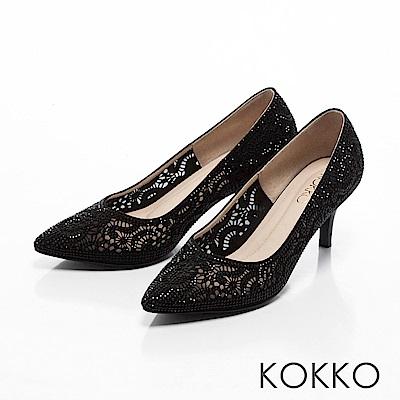 KOKKO -香榭大道彩鑽夢境桃心高跟鞋-自信黑