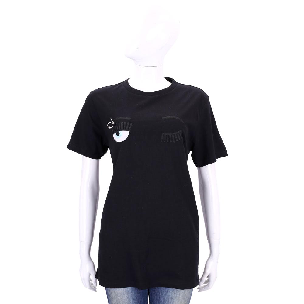 Chiara Ferragni Flirting眉環眨眼圖案短袖長版T恤黑色