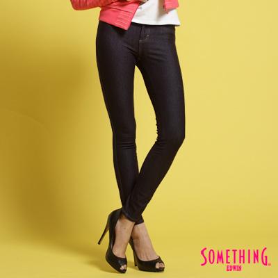 【SOMETHING】LADIVA合身保溫直筒褲-女款(黑藍)