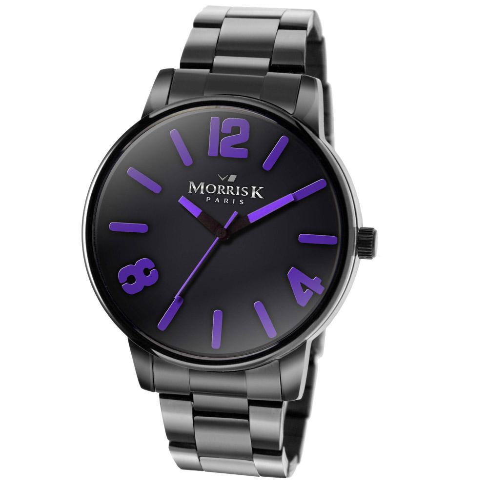 MORRIS K 搶眼對比不鏽鋼時尚腕錶-黑x紫/35mm