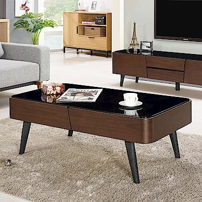 Boden-衛倫3.9尺黑色玻璃大茶几-116x64x42cm