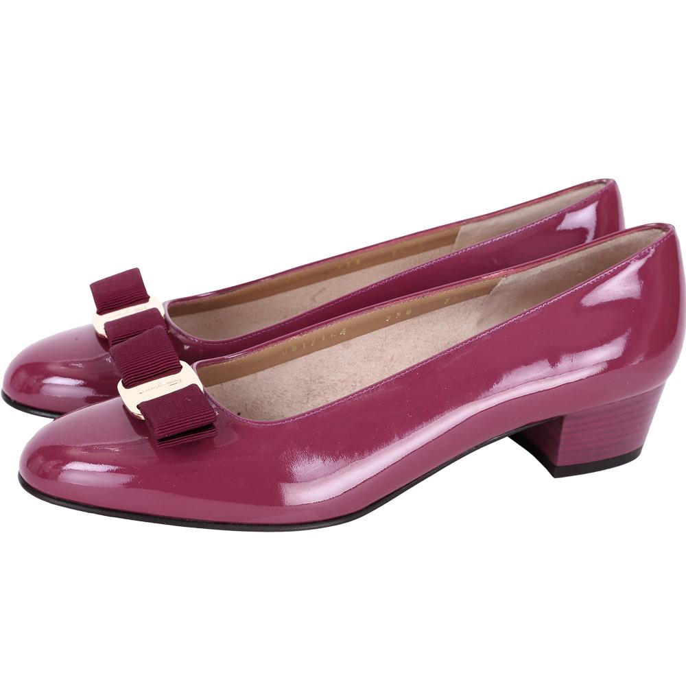 Salvatore Ferragamo VARA 蝴蝶結漆皮粗跟鞋(桃紫色)