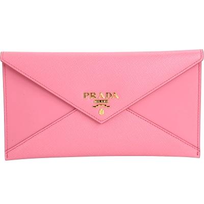 PRADA Envelope 拼接信封設計釦式長夾/手拿包(粉色)