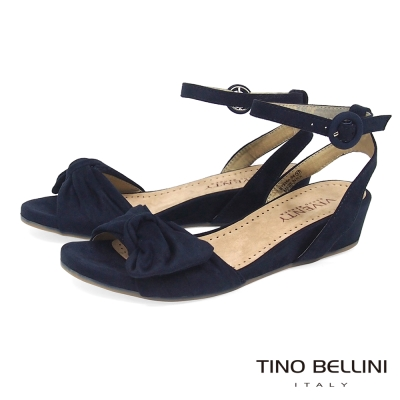 Tino Bellini 浪漫扭結繫踝4cm小坡跟涼鞋 _深藍