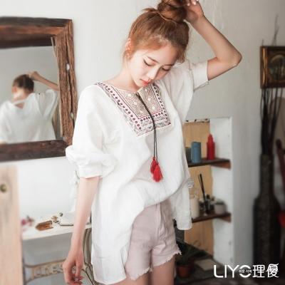 LIYO理優圖騰刺繡流蘇綁帶上衣(白色)