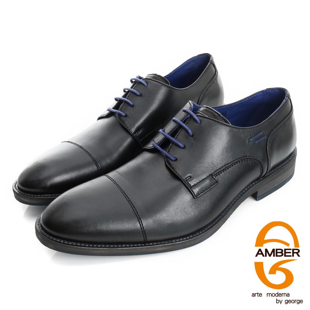 【AMBER】帥性都會 葡萄牙進口真皮仿舊綁帶紳士鞋皮鞋(男)-黑色