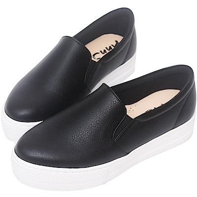 Ann'S進化2.0!荔枝牛紋不磨腳顯瘦厚底懶人鞋-黑