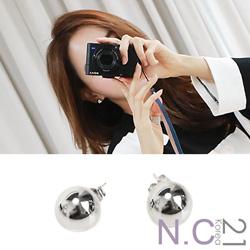 N.C21-正韓 韓製反光金屬圓球耳針耳環 (銀色)