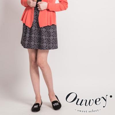 OUWEY歐薇-圖紋印花壓摺裙