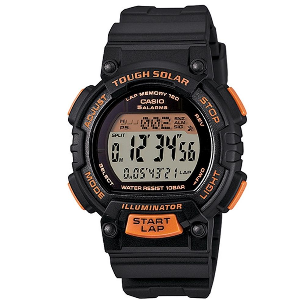 CASIO 太陽能輕量型全方位運動風數位錶(STL-S300H-1B)-橘x黑/36mm