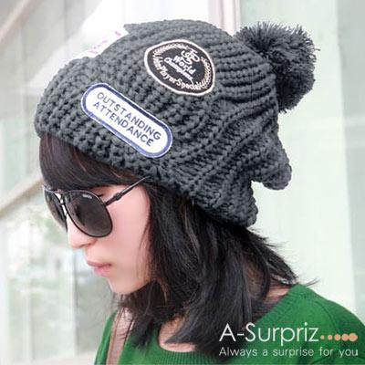 A-Surpriz 韓風率性徽章毛球針織帽(灰)