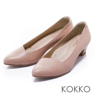 KOKKO舒壓透氣極簡尖頭斜切真皮高跟鞋