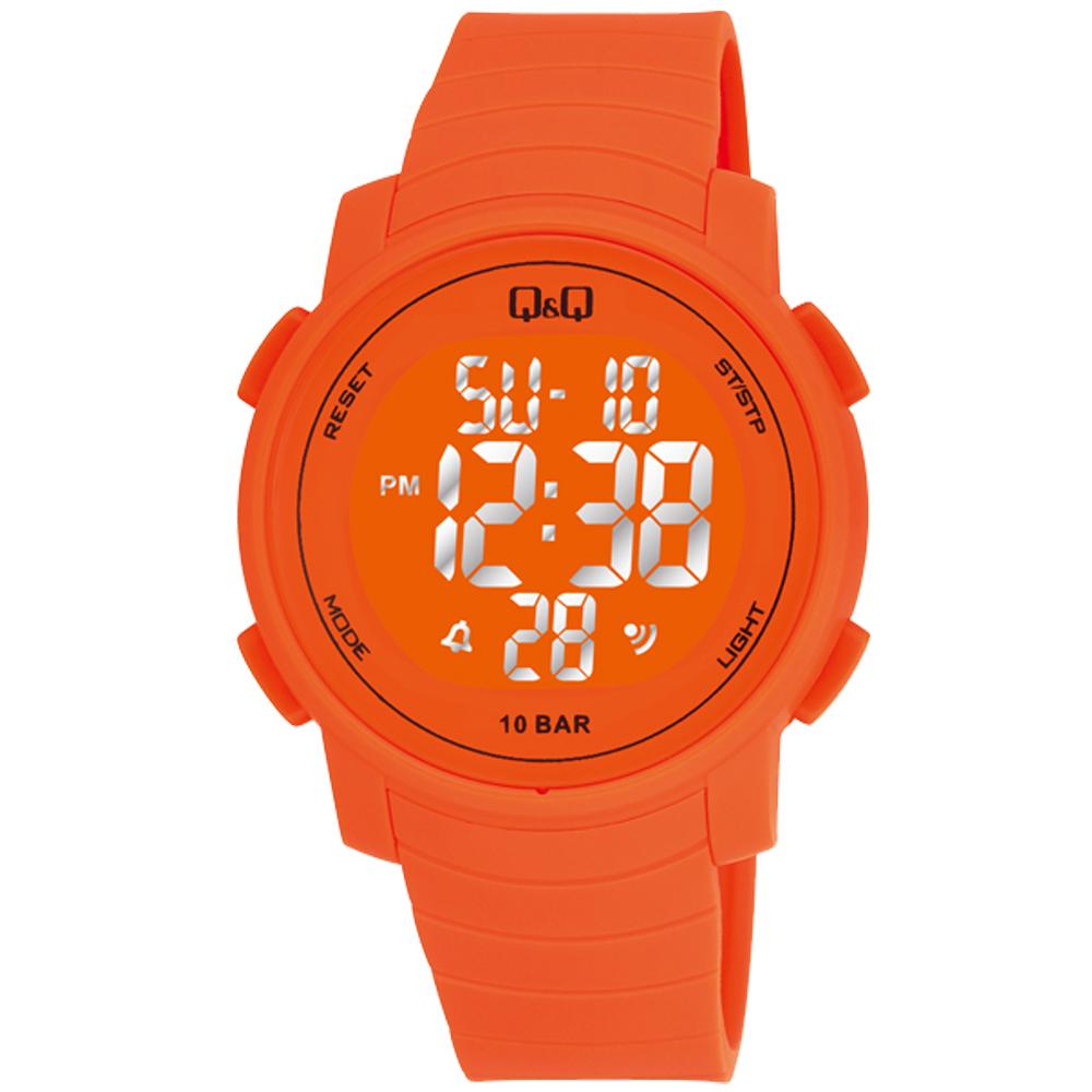 Q&Q 多色酷炫潛水膠帶風功能電子錶-橘/44mm