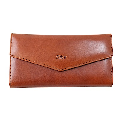 Sika義大利時尚牛皮尖蓋三折長夾A8295-01原味褐
