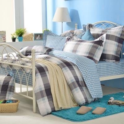 義大利La Belle 悠閒假日 加大四件式防蹣抗菌舖棉兩用被床包組