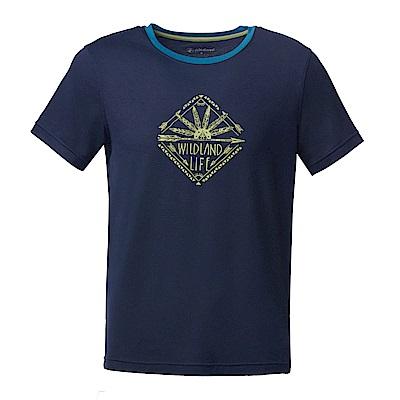 【Wildland 荒野】男彈性棉感抗UV印花上衣深藍