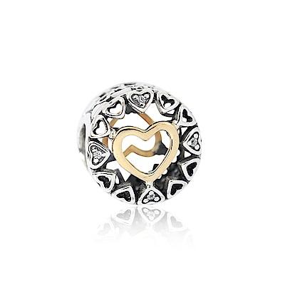 Pandora 潘朵拉 14K魅力愛心鑲鋯 純銀墜飾 串珠
