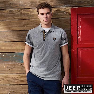 JEEP 簡約造型短袖POLO衫-灰色