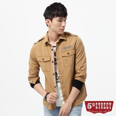 5th STREET 襯衫 基本繡花平織長袖襯衫-男-土黃