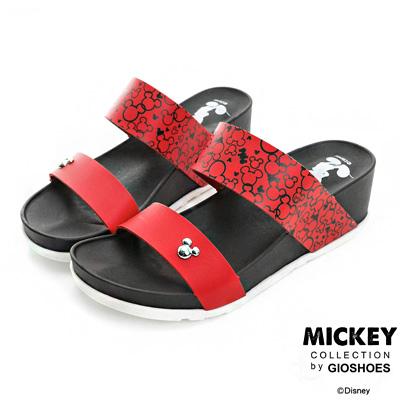 DISNEY 隨性趣味 寬版雙帶厚底楔型拖鞋-紅(女)