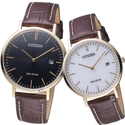 CITIZEN Eco-Drive 專一情人對錶(AU 1083 - 13 A  AU 1083 - 1