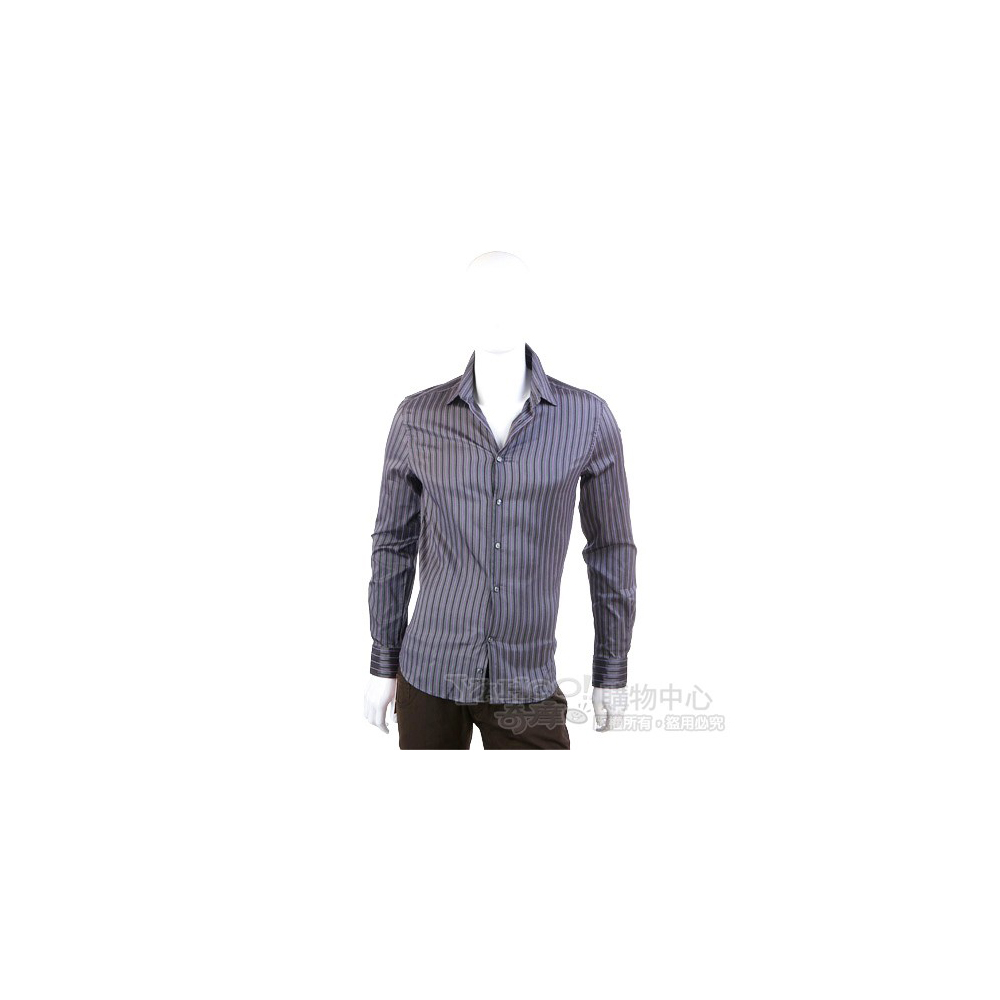VERSACE 灰色直條紋長袖襯衫