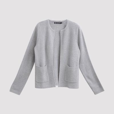 Hang Ten - 女裝 - 雙邊口袋開襟針織外套  - 灰
