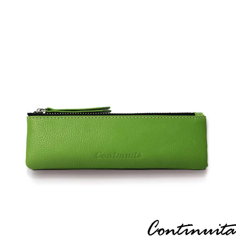 Continuita 康緹尼 頭層牛皮日本文青女孩素面扁平筆袋-蘋果綠色