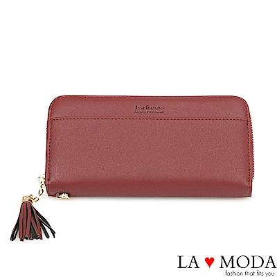 La Moda 大人氣熱銷流蘇綴飾大容量拉鍊長夾(紅)