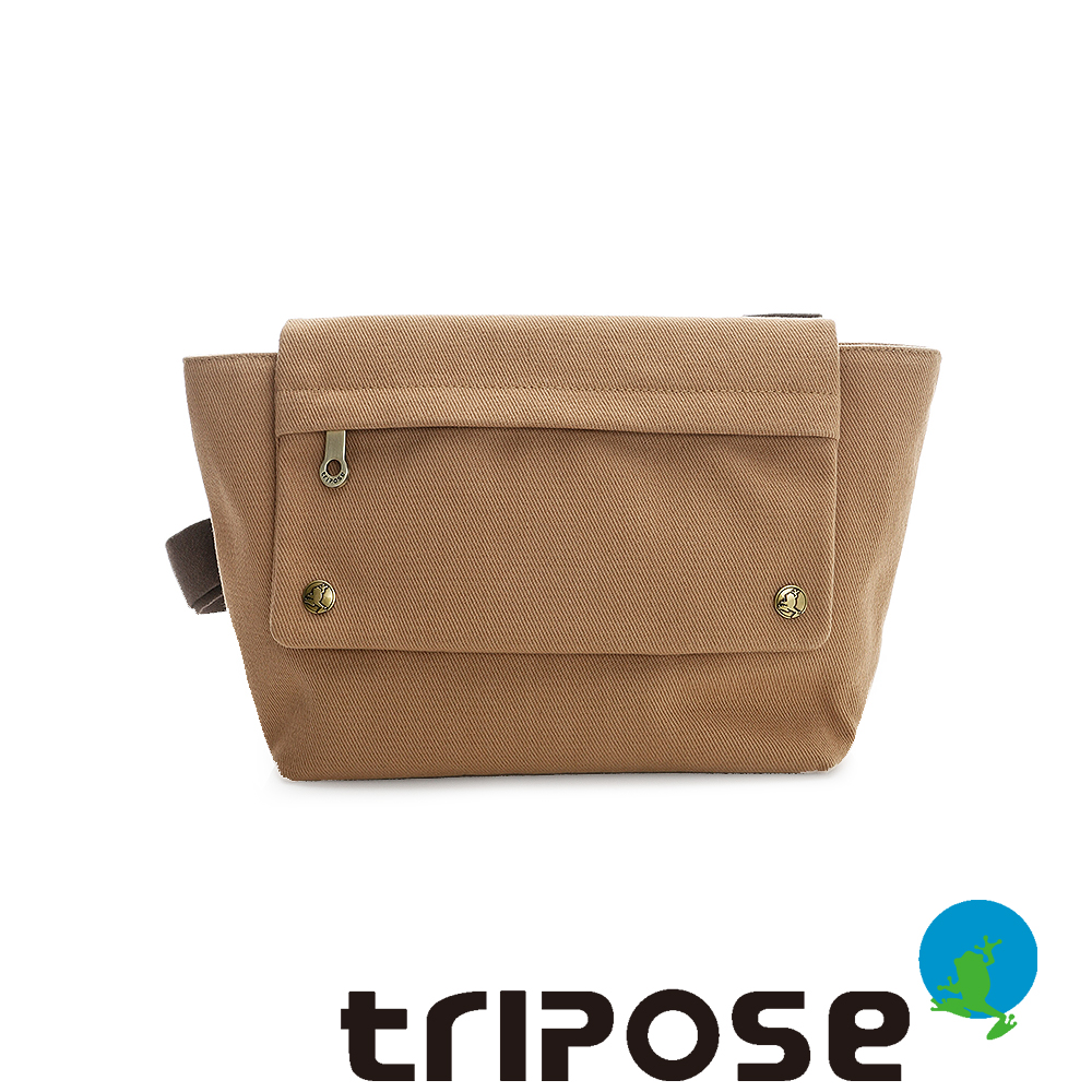 tripose TIME系列斜紋帆布翻蓋肩背包 - 駝