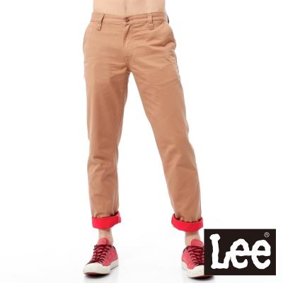 Lee 休閒褲 斜口袋直筒褲管可反摺八分褲-男款(淺咖啡)