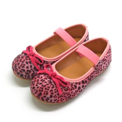 天使童鞋-D377 秋冬絕美豹紋親子鞋(中童)-粉紅紋