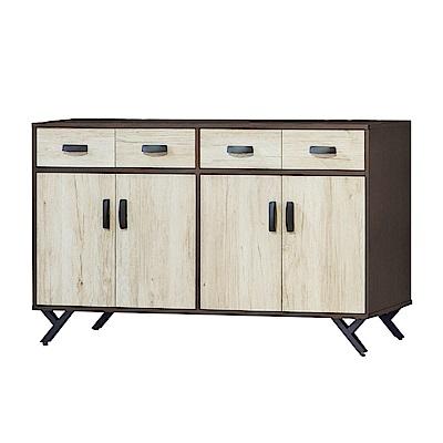 品家居 菲艾5尺雙色四門四抽餐櫃下座-150x40x83cm免組