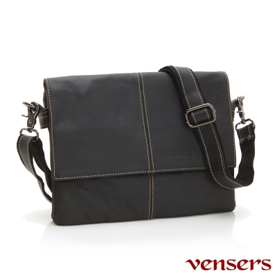 vensers-小牛皮潮流個性包-斜肩背包-N131001黑色