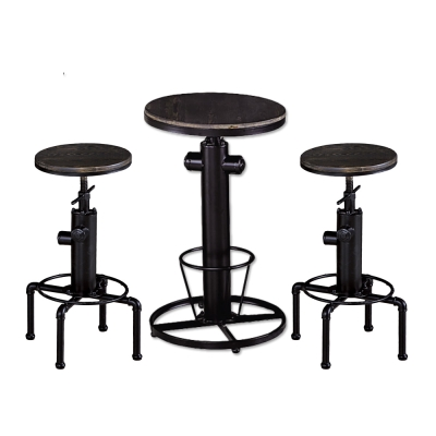 AT HOME-狄倫1.8尺圓形胡桃升降吧台桌椅組 55x55x110cm