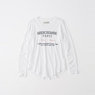 A&F 經典文字設計巴黎風情長袖T恤(女)-白色 AF Abercrombie