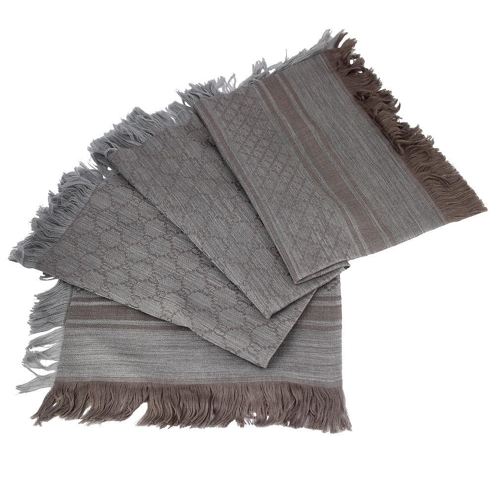 GUCCI 卡其色 G LOGO 菱格紋羊毛混紡方形圍巾披肩(大)GUCCI